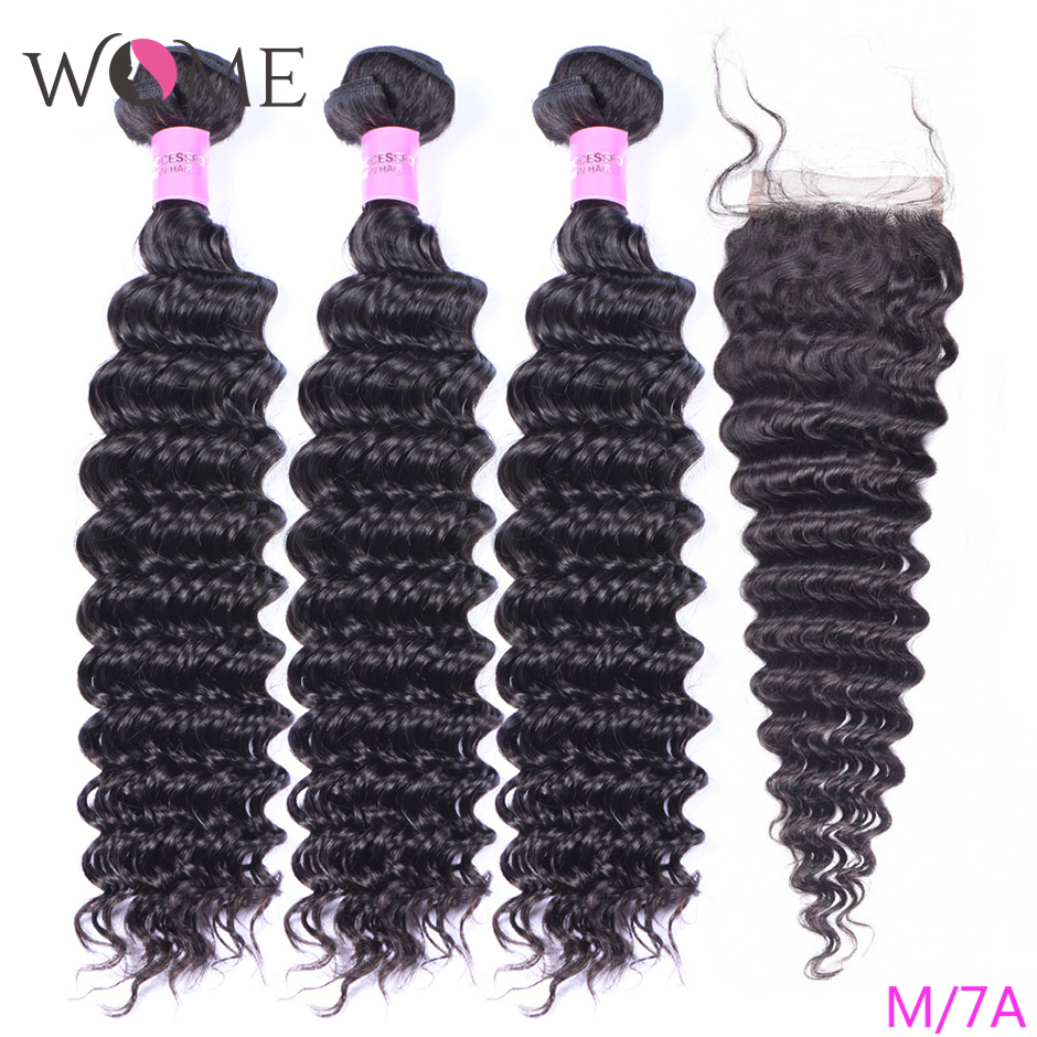 WOME Deep Wave Bundles With Closure Brazilian Human Hair Weave 3 Bundles With Closure Natural Color Non-remy Hair With Closure