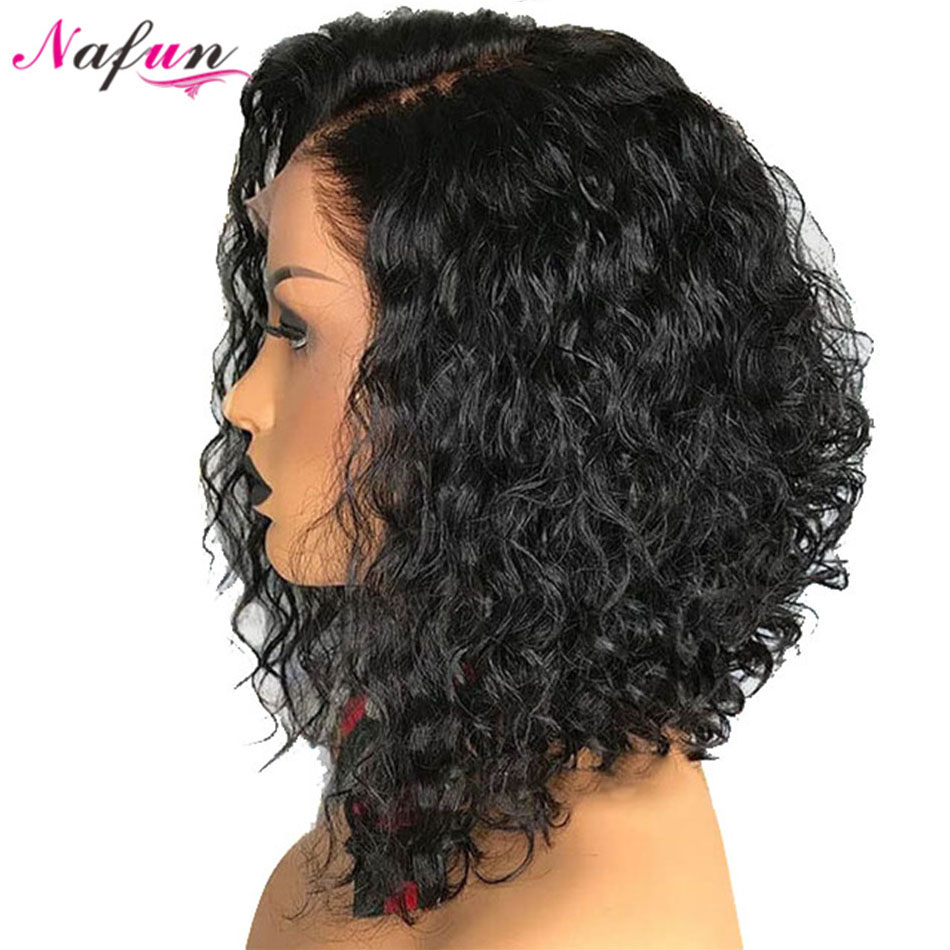 Nafun13x4 Lace Front Human Hair Wigs Peruvian Non-Remy Kinky Curly Wig Bob Lace Front Wigs Lace Wig Middle Ratio 150% Density