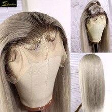 Preplucked HD 투명 13X6 레이스 프론트 인간의 머리 가발 그레이 컬러 옹 브르 613 금발 클로저 가발 스트레이트 여성 표백