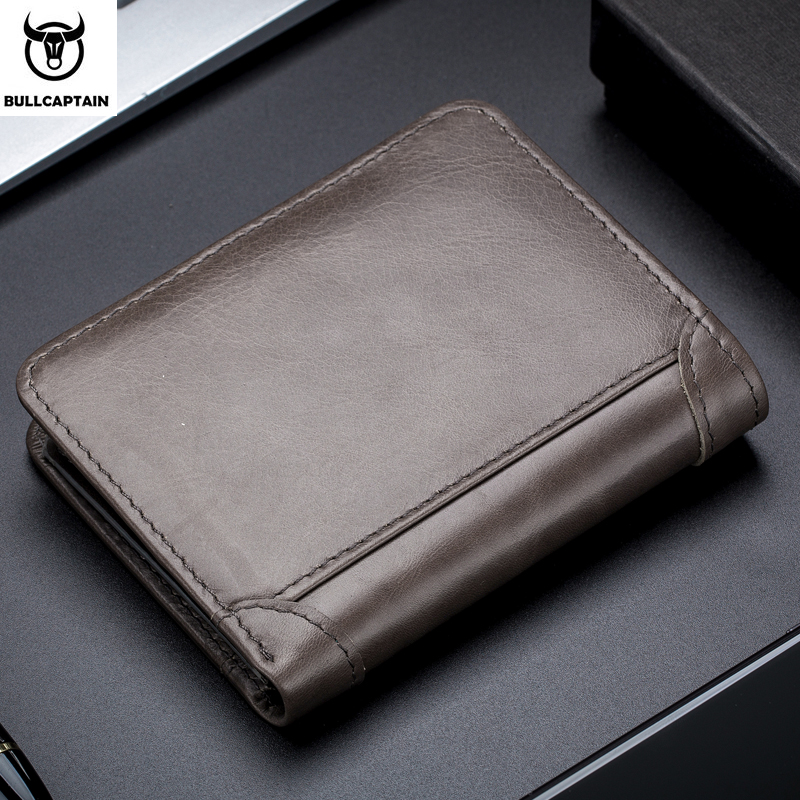 Image 5 - Bullcaptain RFID Leather Mens Wallet with Coin Purse Retro Fashion Mens Wallet Features Brown Short Wallet Card Holder ClutchWallets   -