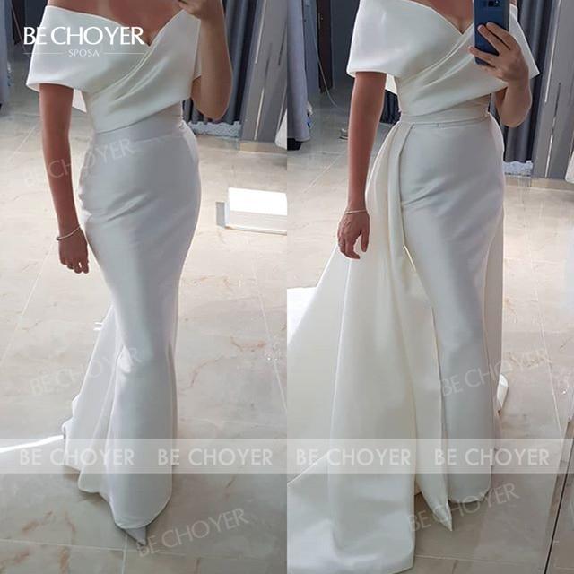 Wedding Dress 2 In 1 Detachable Train Sweetheart Satin Mermaid Vestido De Noiva 2021 Fashion Princess BECHOYER EL101 Bridal Gown 5