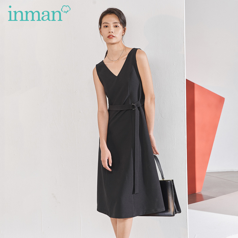 INMAN 2020 Spring New Arrival Literary V-line Collar A-line Lower Hem Nipped Waist Slimmed Sleeveless Dress