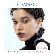 Enfashionパンク耳たぶラインスパイクのスタッドのイヤリングゴールドカラー非対称タッセル小さなイヤリングファッションジュエリーE191129