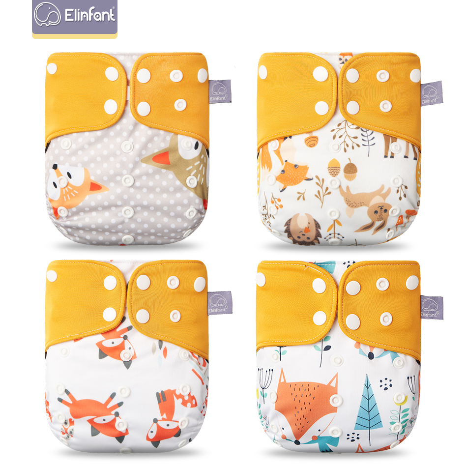 Elinfant ECO-friendly New 4pcs/set Washable coffee Mesh Cloth pocket Diaper Adjustable Reusable fralda ecologica