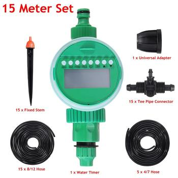 52 Pcs/Set  15m DIY Micro Drip Irrigation System Plant Self Hose Water Controller Timer Automatic Garden Watering Kits
