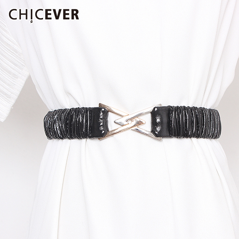 CHICEVER PU Leather Women's Belt Patchwork Metal Button Adjustable Clothes Accessories Belts For Female Korean 2020 Summer New