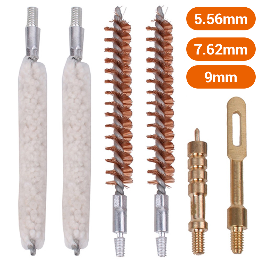6 Pcs/Set Gun Cleaning Rod Brush Head Kit .30cal 7.62mm .22cal 5.56mm .35cal 9mm Rifle Pistol Cleaning Tool Hunting Accessories