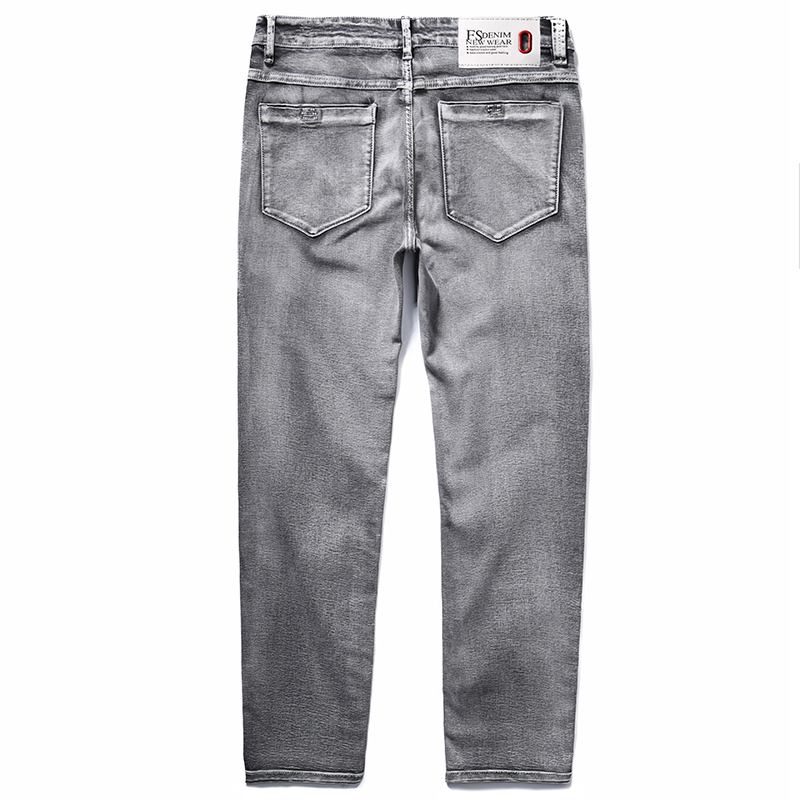 2020 Men's Classic Jeans Elastic Skinny Solid Color Denim Jean Male Grey  Slim Fit Pants Brand ClothesPlus Size 40 42 44 46