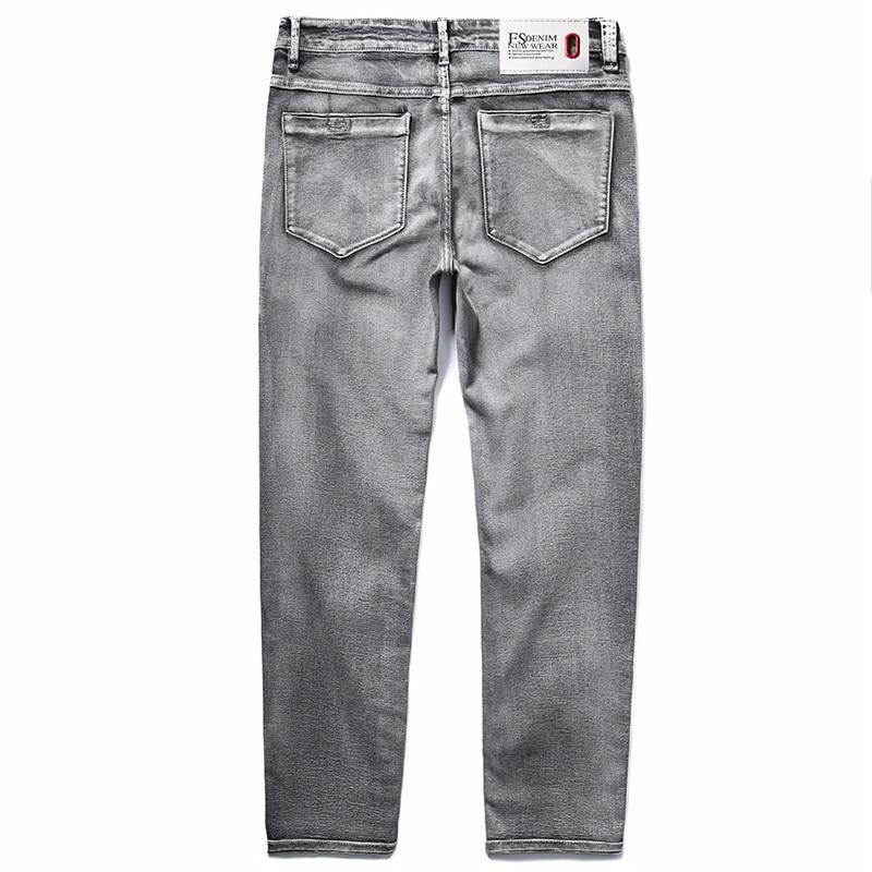 2020 Men's Classic Jeans Elastic Skinny Solid Color Denim Jean Male Grey  Slim Fit Pants Brand ClothesPlus Size 40 42 44 46