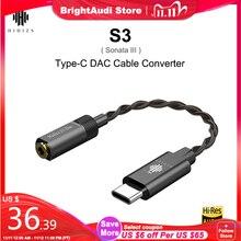 HIDIZS S3 (Sonata III) hiFi Audio Type C DAC Kabel Converter USB DAC naar 3.5mm Hoofdtelefoon Versterker Adapter voor Android Telefoon PC