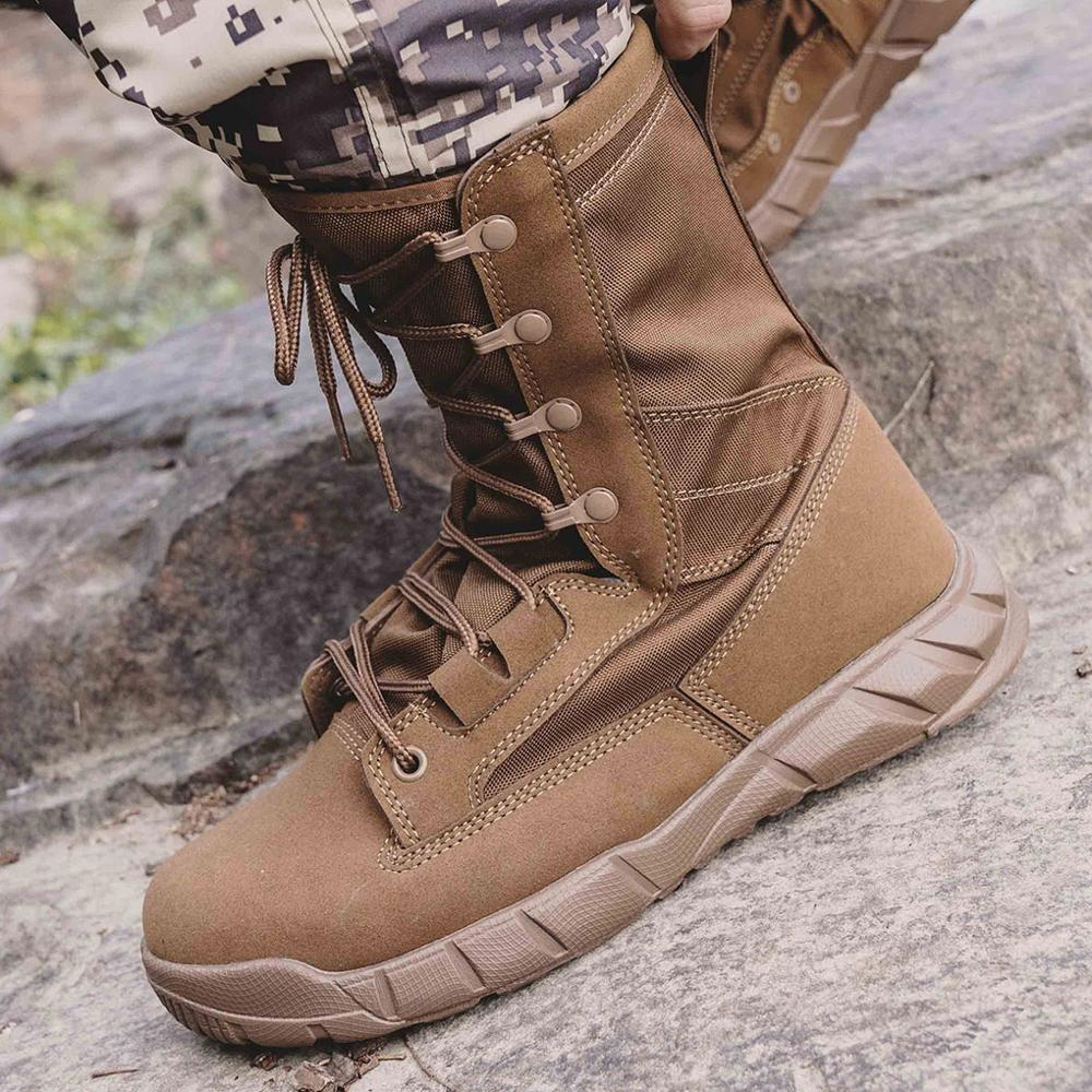 CQB.SWAT Combat Breathable Ankle Army Brown Mens Tactical Leather Summer Military Boots with Zipper