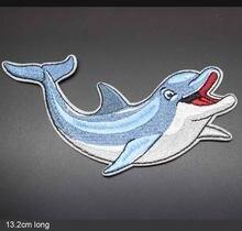 Симпатичный Дельфин на тему океана, полностью вышитая ткань с утюгом, нашивка для девочек и мальчиков, наклейки на одежду, аксессуары для од...