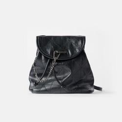 Women's Bag 2020 New Black Flip Soft Shoulder Bag Large Capacity Chain Bag Fashion Lingge Leather Backpack Women