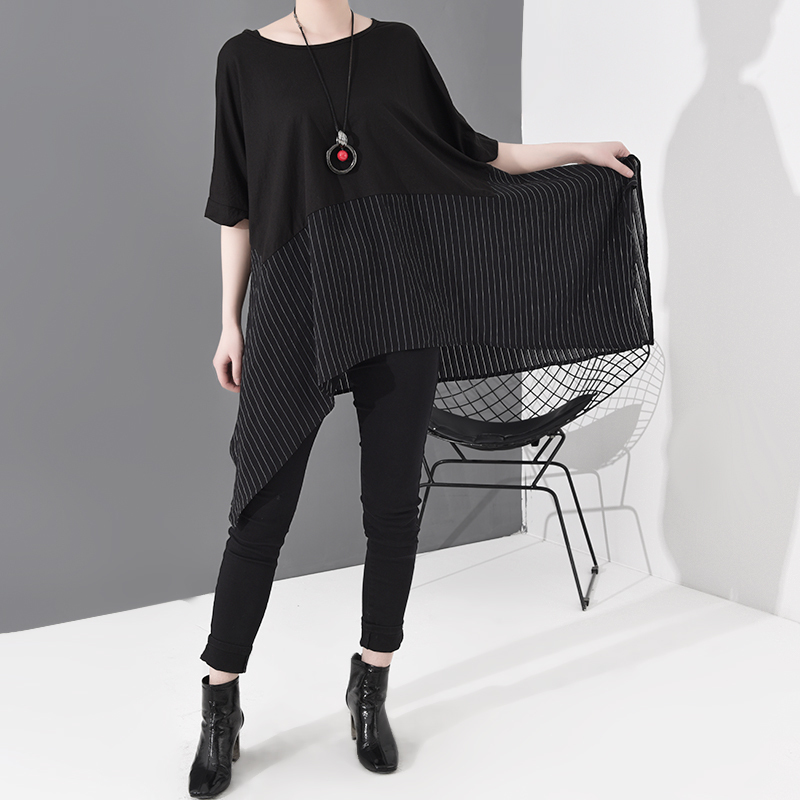 [EAM] Women Black Striped Asymmetrical Big Size T-shirt New Round Neck Short Sleeve  Fashion Tide  Spring Summer 2020 JS953 6