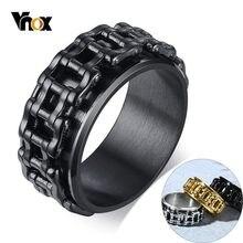 Vnox – anneau de chaîne de vélo rotatif pour hommes, 9.5mm, Punk, bracelet en acier inoxydable noir, Cool, Spinner, Rock Boy