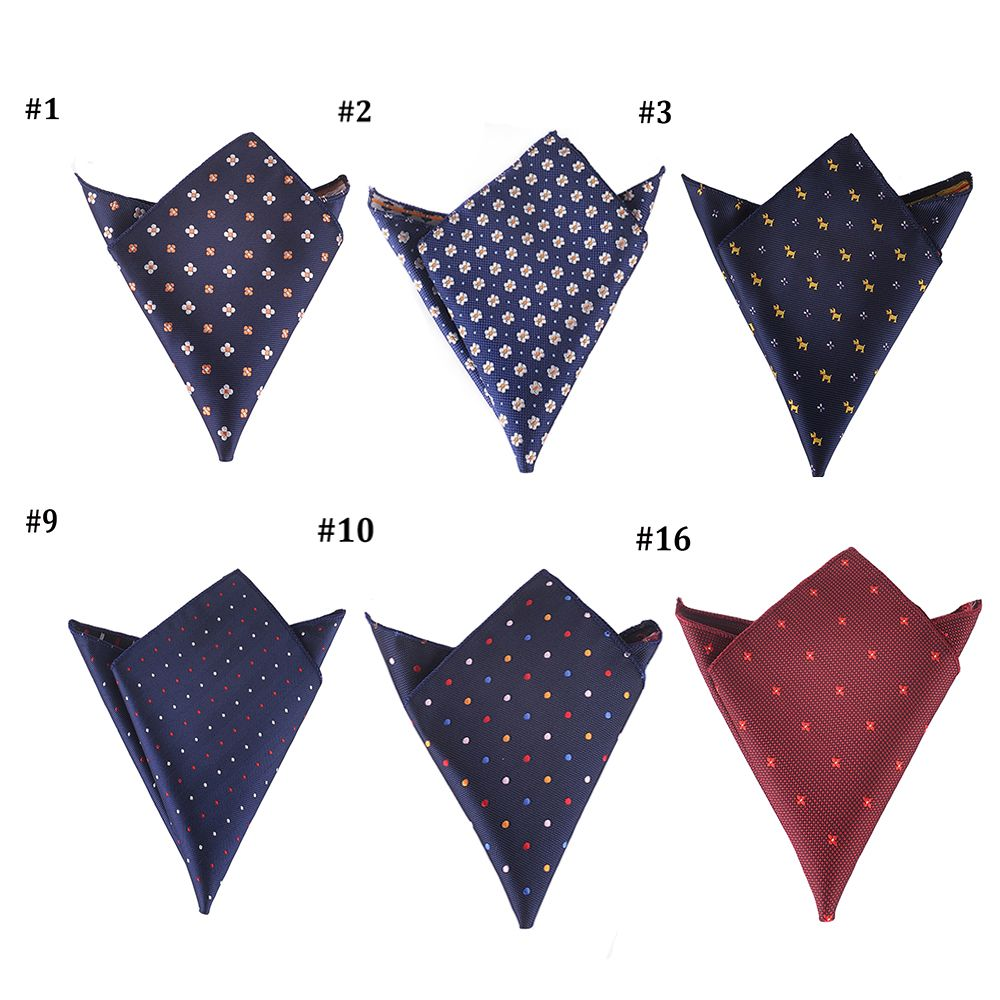22*22CM Vintage Luxury Men's Handkerchief Polka Dot Embroidery Floral Hankies Polyester Hanky Business Pocket Square Chest Towel