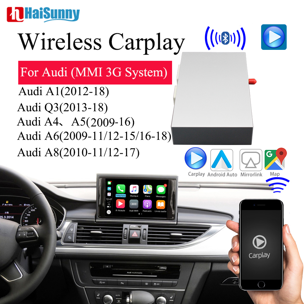 Wireless CarPlay Apple Android Auto Player Support Rear Side Front view Camera Car Play For Audi MMI Q3 Q5 A1 A3 A4 B8 A5 A6 c7 image