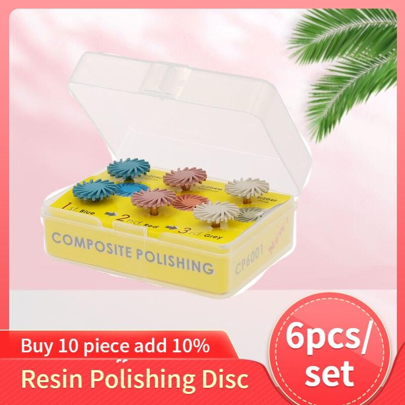 Radial Bristle Disc Brush Dental Composite Resin Polishing Disc Polishing Wheel Burs Spiral Flex Brush 6Pcs