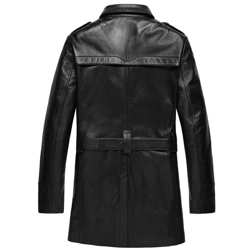 Men's Leather Genuine Goatskin Coat Autumn Winter Jacket Men Streetwear Windbreaker Long Coats Chaqueta Hombre MY1600