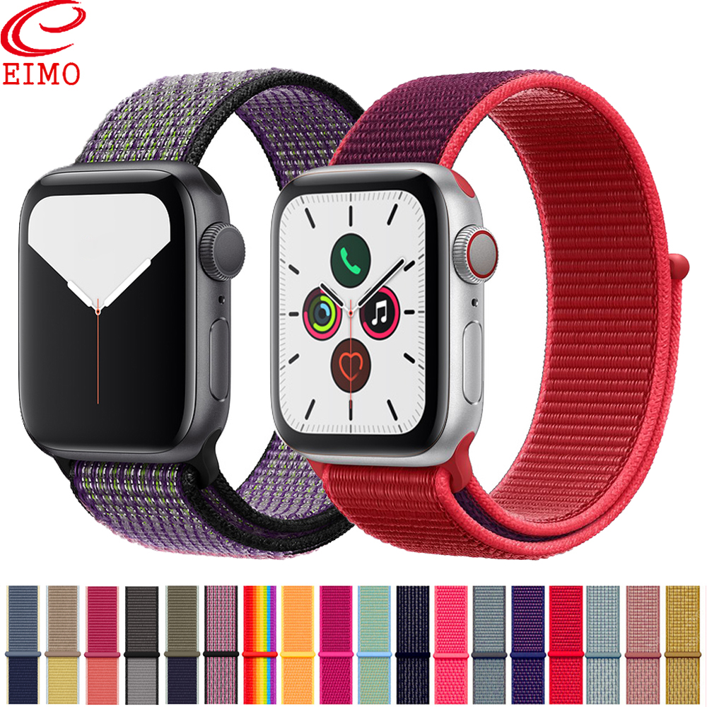 EIMO Sport Loop Strap For Apple Watch 5 Band 44mm 40mm Series 5 4 3 2 1 Iwatch Band 42mm 38mm Nylon Loop Bracelet Belt Watchband
