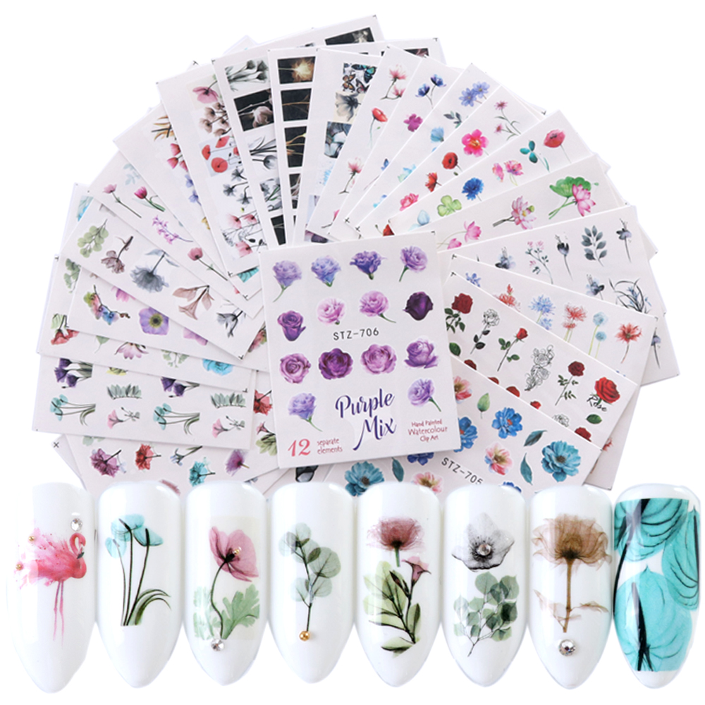 24 Sheets/sets Nail Water Sticker Flower Flamingo Beauty Slider Bloom Colorful Plant Pattern 3D Manicure Sticker TRSTZ683-706-1
