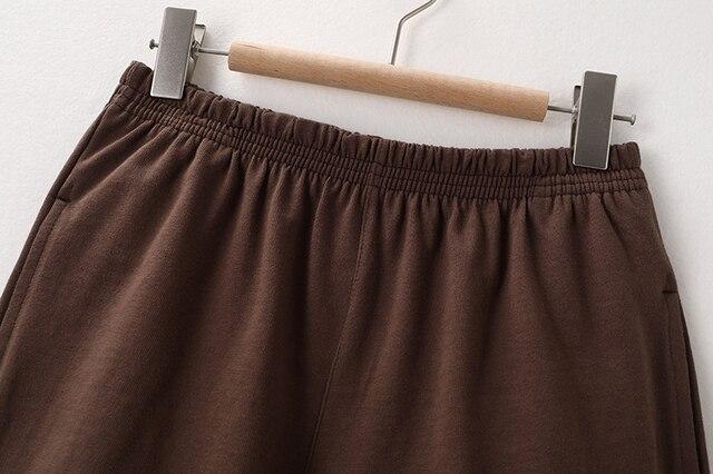 PUWD Slim Girls Soft Cotton Shorts 2021 Summer Fashion Ladies Brown Joggers Shorts Vintage Women Chic Bottoms Sweet 5