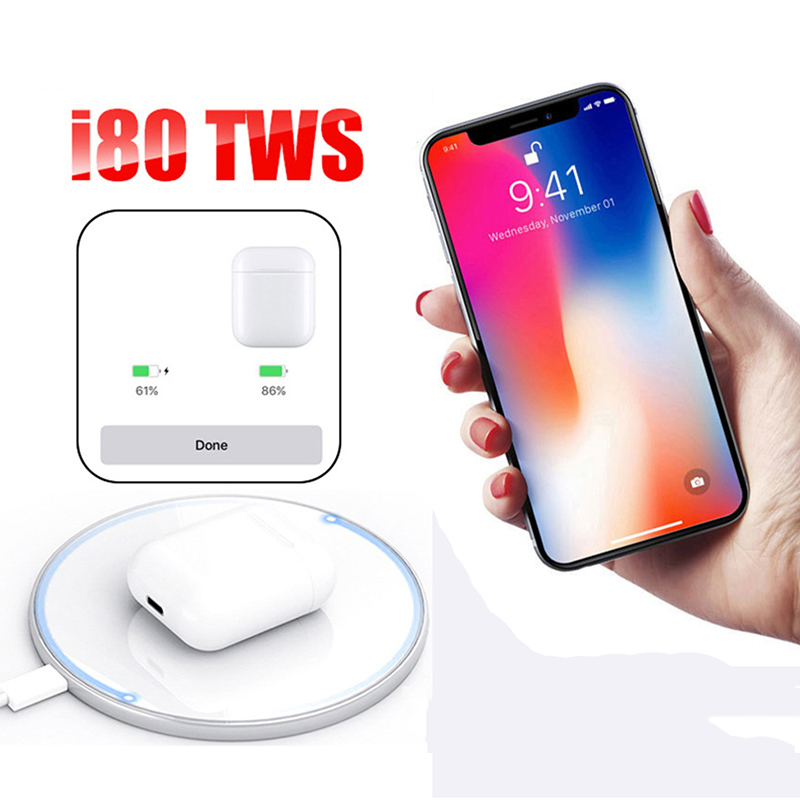 New i80 TWS Wireless Bluetooth 5.0 Mini Earphone Sports Touch Control Earbuds Headset Stereo HiFi Bass Pk i12 i10 i200 i 80 TWS image