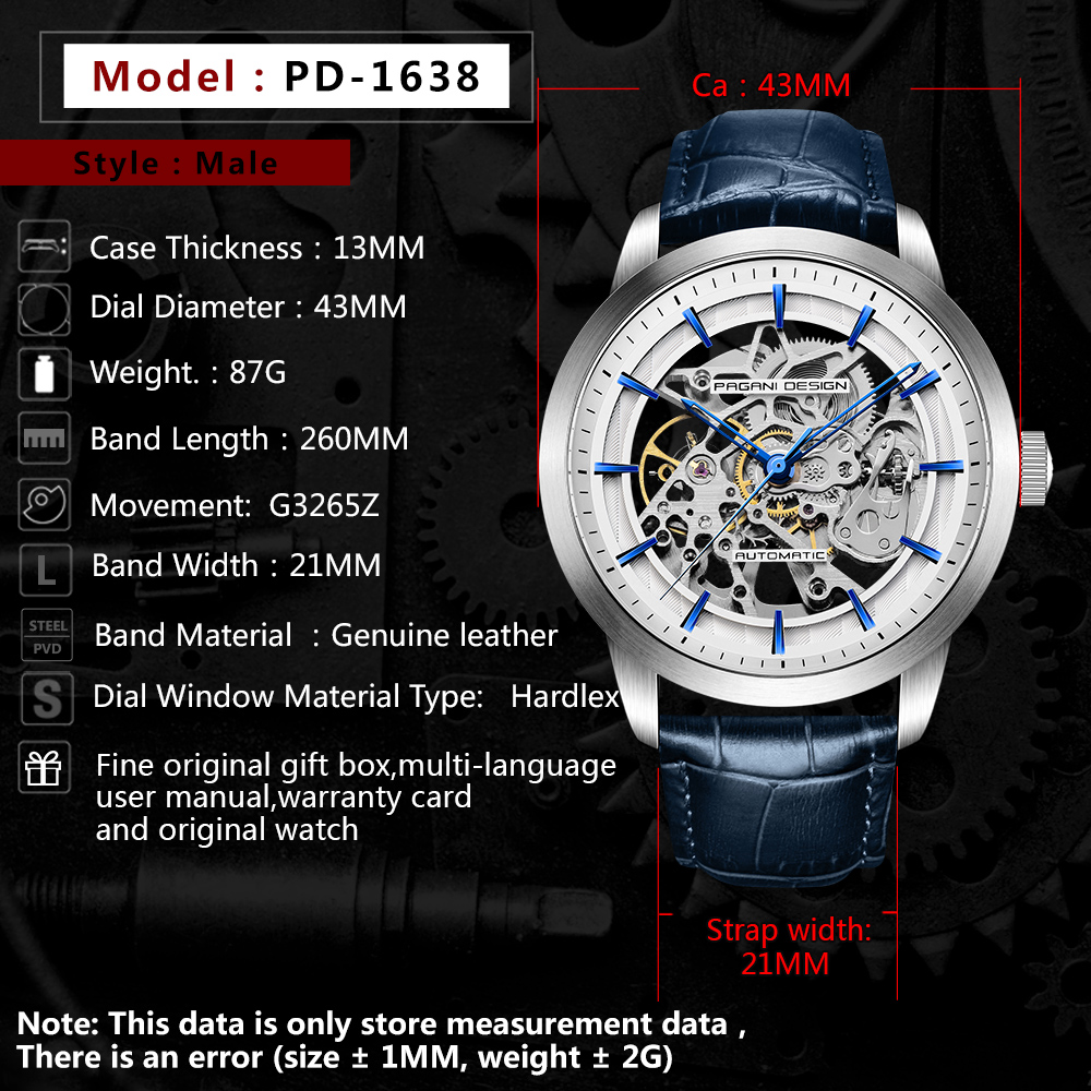 Image 3 - 2020 PAGANI DESIGN Brand Fashion Leather Gold Watch Men Automatic