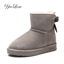 Womens Winter Fur Lined Ladies Fashion Snow Ankle Boots Bow-knot Shoes Waterproof  Internal Plush Slip-On Genuine Leather Shoes fashion sheepskin leather women ankle winter snow boots for womans buckle natural fur lined short winter shoes waterproof
