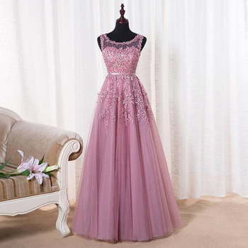 New Arrivals Lace Long Prom Dresses Applique Flowers Beading Neckline Evening Dresses  Real Photos In Stock CPS299