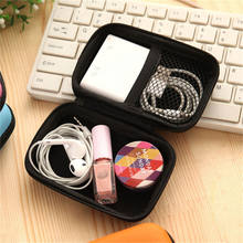 Mini Zipper Hard Headphone Case EVA Leather Earphone Bag,Protective Usb Cable Organizer Portable Earbuds Pouch box(China)