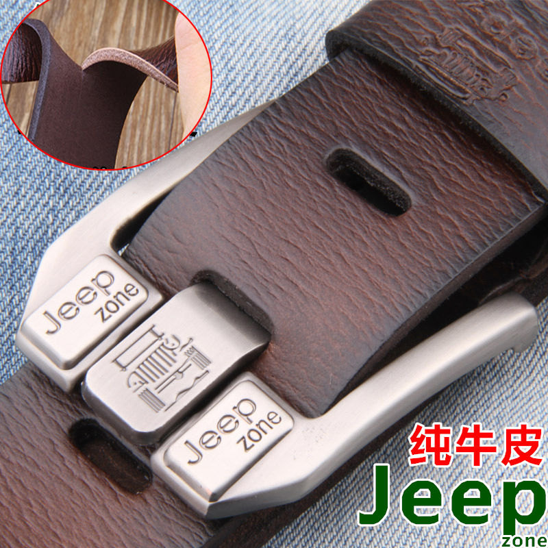 Jeep Zone Men Genuine Leather Belt Luxury Buckle Designer Belts Cow Split Leather Cowskin Fashion Strap
