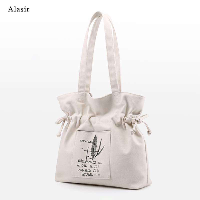Alasir Women Canvas Shoulder Bags Simple Printing Drawstring Bags Female COtton Bag Ladies Casual Handbags Drawstring Bags