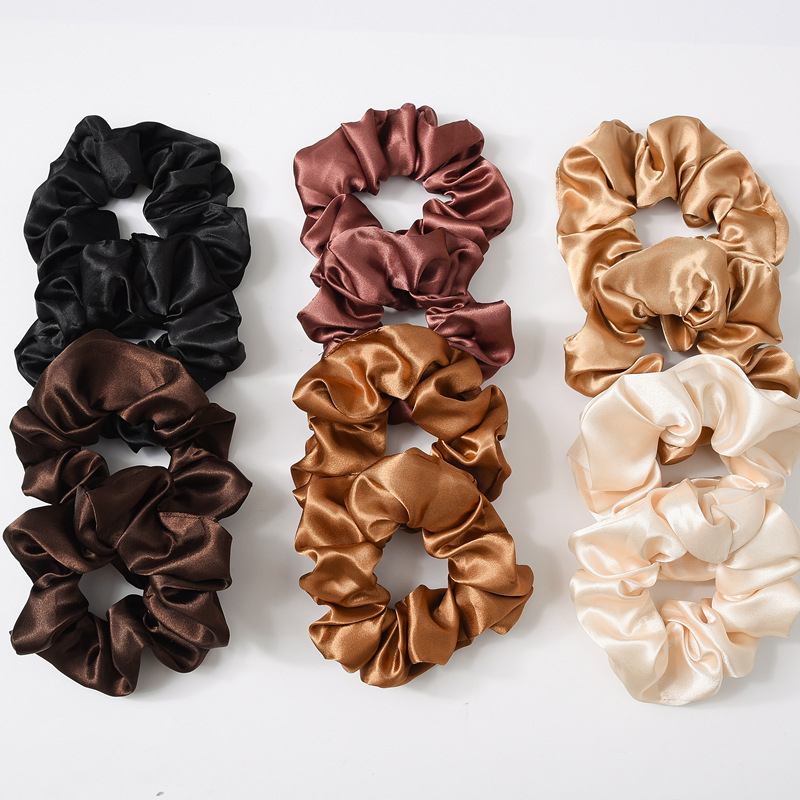 Glossy Satin Silk Solid Color Hair Ties Scrunchies Elastic Hair Bands Women Luxury Soft Ponytail Holder Hair Rope Accessories