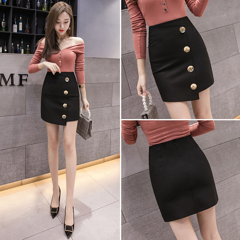 Photo Shoot 2019 New Style Korean-style Front Chip Button Retractable Slim Fit A- Line Type WOMEN'S Skirt