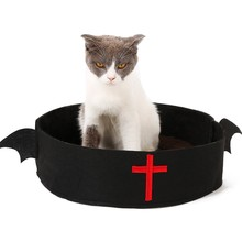 Pet Cat Bed House Basket  Innovative Small Dog Nest Halloween Funny With Creative Cute Bat Wing Supplies