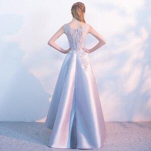 Image 2 - クリアランス販売宴会エレガントなグレーサテンイブニングドレス高/低ショートフロントロングバックレースアップリケフォーマルパーティードレス