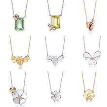 Love Bug Series Fashion Classic Flowers and ladybug Necklace S925 Sterling silver Woman Jew
