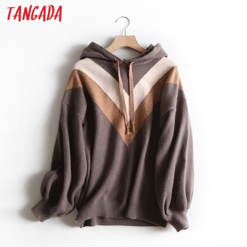 Tangada Women Chic Striped Hooded Sweaters Pullovers Warm Thick 2019 Fashion Female Casual Oversize Jumper Pull Femme Bc43