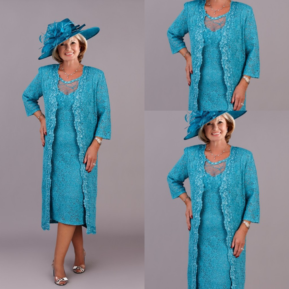 Spring 2015 Tea Length Mother Of The Bride Lace Dresses Blue Sheer Neck Three Quarter Sleeves Groom Mother Wedding Outfits