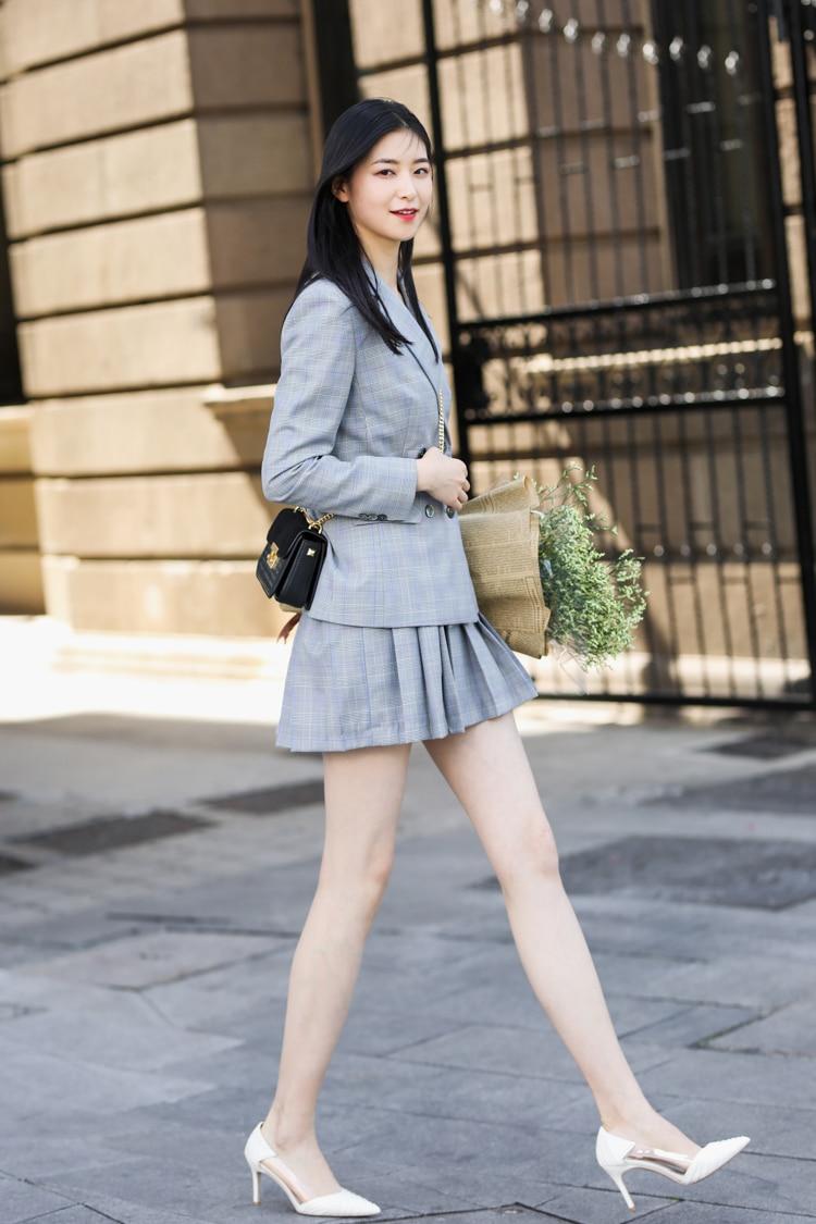 JRHYME Grey Plaid Long Sleeves Women Skirt Suit,Grey 2 Pieces Set Jackets Blazers,Casual Feminino Blazer And Skirt Set