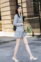 JRHYME Grey Plaid Long Sleeves Women Skirt Suit,Grey 2 Pieces Set Jackets Blazers,Casual Feminino Blazer And Skirt Set light grey top with stripe and long sleeves