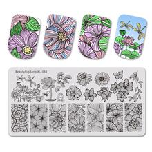 Beautybigbang Nagel Stanzen Platten Nail art Blume Libelle Lotus Bild Nägel Swanky Stanzen Drucken Vorlage Platte Form XL 088