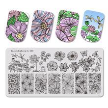 Beautybigbang Nail Stamping Plates Nail Art Flower Dragonfly Lotus Image Nails Swanky Stamping Print Template Plate Mold XL 088