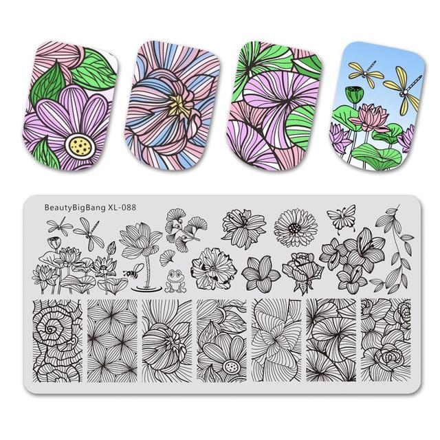 Beautybigbang Nail Stamping Plates Nail Art Flower Dragonfly Lotus Image Nails Swanky Stamping Print Template Plate Mold XL 088