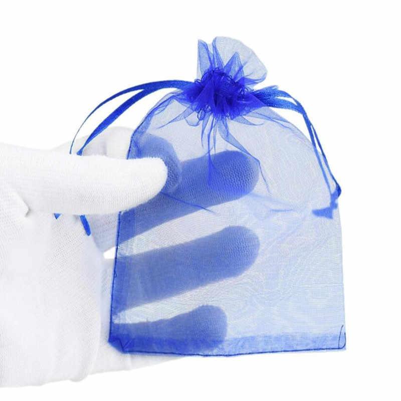 50 יח'\חבילה Drawable אריזת תכשיטי אורגנזה שקיות 7x9 9x12 10x15 13x18CM חתונה מסיבת תכשיטי שקית מתנה & שקיות 5Z