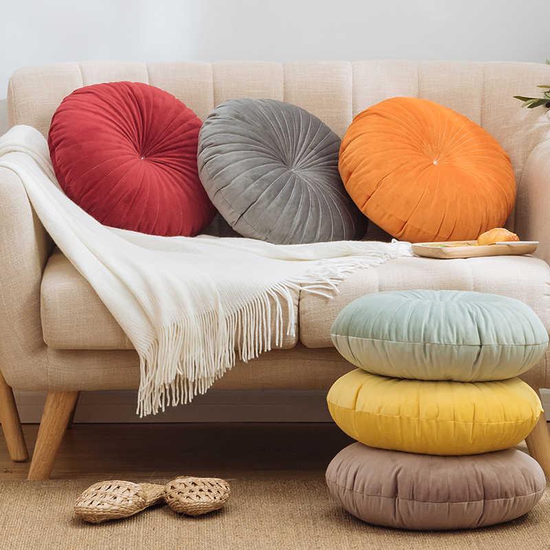Cojín redondo sólido de terciopelo suave almohada rosa azul de Color sólido cojín de piso almohada 45x45cm decoración del hogar sofá silla coche Decoración