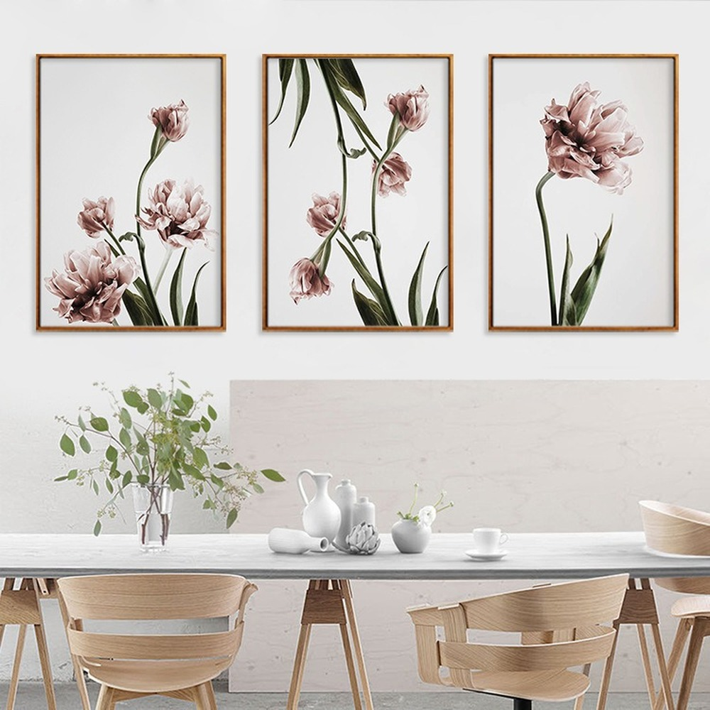 Watercolor Flowers Home Decoration Painting Pink Carnation Wall Art Poster Living Room Bedroom Canvas Painting Pictures