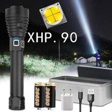 슈퍼 강력한 Xlamp XHP70.2 XHP90 LED 손전등 LED 토치 USB XHP50 램프 줌 전술 토치 18650 26650 충전식 Battey