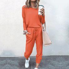 Feminino outono conjunto de cor pura terno manga longa lazer bolso casa conjuntos moletom treino duas peças conjunto feminino senhoras wear